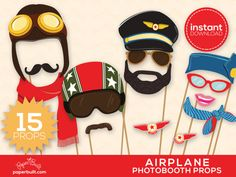 Airplane Photo Booth Props Airplane Birthday by PaperBuiltShop, $6.00