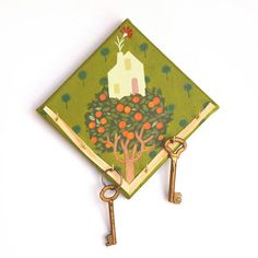 23cbb05cb828 Hand-painted key holder on a mini canvas with a little house on a tree in  folk style