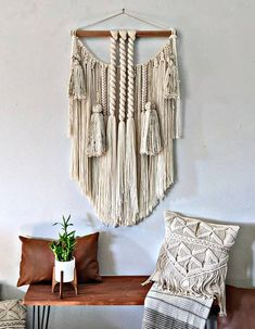 Ready to ship! Large Macrame Wall Hanging, Tapestry Wall Hanging, Wall Hangings, Bohemian Wall Art, Dream Catcher, Tassels, Etsy Seller, Ship, Creative