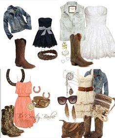 Country dresses and boots stunning outfits 3 cute country outfits, country Country Girl Outfits, Country Girl Style, Country Dresses, Country Fashion, Cowgirl Outfits, Western Outfits, Country Girls, My Style, Country Style Clothes