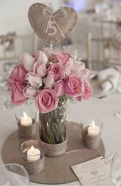 Rustic Pink Wedding Centerpiece + Table Number