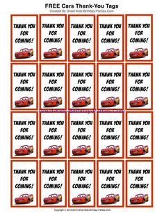 FREE Printable Disney Cars Thank-You Tags for party favors at Great-Kids-Birthday-Parties.Com