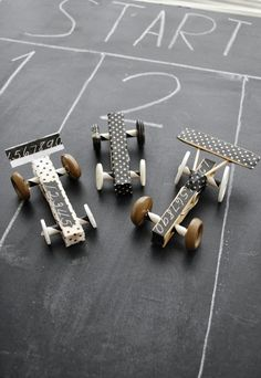 racing cars with clothespins, buttoms and tape