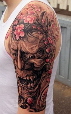 Mask Cherry Blossom Mens Half Sleeve Japanese Tattoo Ideas