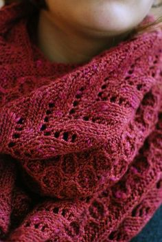 buttoned cowl; pretty pattern and a gorgeous color!