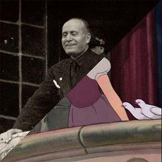 Eugenio Risi, Benito Mussolini affacciato al balcone di Palazzo Venezia. L'effigiato sorride osservando la folla sottostante, 1922-1930 ca. VS Walt Disney, Snow White and the Seven Dwarfs, 1937