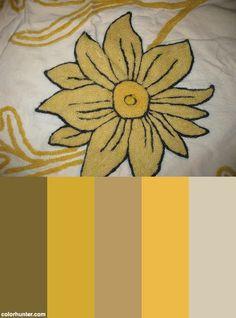 Yellow Wool Chain Stitch Flower Color Scheme