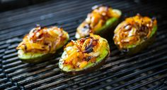 These grilled and stuffed avocados are the perfect one fork meal, even if they don't contain meat!