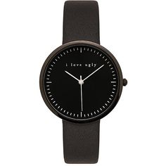 I Love Ugly Black on Black Watch Accessories ($99) ❤ liked on Polyvore featuring jewelry, watches, stainless steel jewellery, stainless steel watches, i love ugly, kohl jewelry and black stainless steel watches