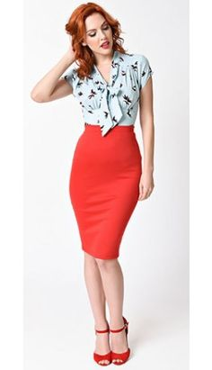 Vintage Red Stretch Knit High Waist Pencil Skirt