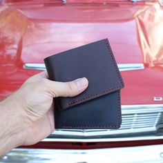 Men's red stitch 5 pocket wallets handcrafted by Tagsmith. The perfect gift for a man.