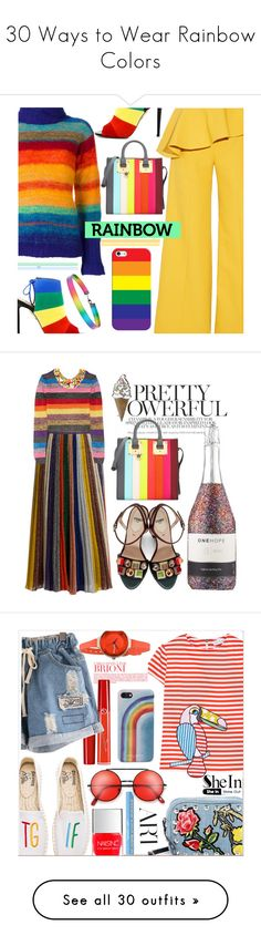 """""""30 Ways to Wear Rainbow Colors"""" by polyvore-editorial ❤ liked on Polyvore featuring rainbow, waystowear, Rosie Assoulin, Aquazzura, Casetify, Kansai Yamamoto, Sophie Hulme, Forever 21, Fendi and Missoni"""