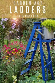 An Idea Gallery Featuring Old Wood Ladders Used As Outdoor Garden Art.  #gardenart #
