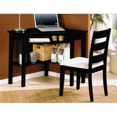 """ACME 00518 Naco 2-Piece Pack Corner Desk and Chair, Black Finish  The Naco #corner #desk and chair perfect to create your modern home office feeling. Fit in your small home corner, finish with black colour, give an elegant touch. Dimension; Corner Desk: 31 x 31"""" x31""""H, Chair: 36""""H. """""""