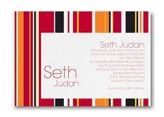 Sensational Stripes in Mango Bar Mitzvah Invitation