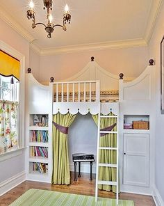 This darling little girl's bedroom makes excellent use of a narrow space.A Fairy Tale bedroom is created with special features.