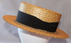 Vintage Lee of New York Straw Panama or Boater Style Hat, 1970's #Lee #Boater