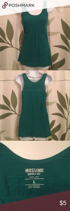NWOT Mossimo green detailed tank top This is new, never worn. This is a simple tank that can be worn alone or layered. It is detailed throughout with parallel patterns for added style. Size large, shoulder to hem measures 27 inches long. Mossimo Supply Co Tops Tank Tops