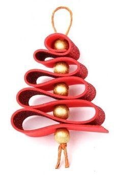 New christmas tree decorations ribbon navidad ideas Handmade Christmas Decorations, Christmas Ornament Crafts, Christmas Crafts For Kids, Xmas Crafts, Simple Christmas, Christmas Diy, Rustic Christmas, Felt Crafts, Navidad Diy