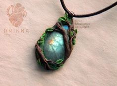 """Enchanted Forest"" pendant, fully handmade.  Polymer clay,  labrador,  acrylics,  leather cord, copper. Sold. Alisa Krinna Maskaeva copyright.  All questions you may ask here: ask.fm/krinna_handmade Have a nice day!"