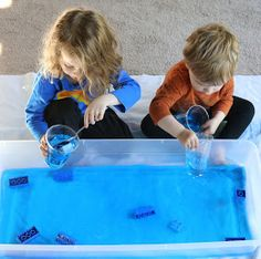 The kids will stay cool and have fun with these five LEGO water activities. They'll search for pieces blindfolded, race to transfer pieces from one container to another, and more. These creative activities with add entertainment to any hot day! Craft Activities For Toddlers, Space Activities, Creative Activities, Sensory Activities, Infant Activities, Sensory Play, Lego Math, Lego Craft, Maths