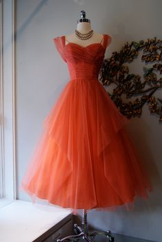 1950s coral tulle prom dess