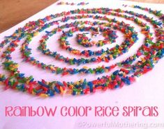 Rainbow Color Rice Spirals Activity Tried: excellent craft. Lots of fun. We did different shapes. Make a spiral with glue than add the colored rice. You can add glitter or other things to the glue instead Art Activities For Kids, Preschool Crafts, Art For Kids, Crafts For Kids, Arts And Crafts, Activity Ideas, Toddler Crafts, Easy Crafts, Craft Ideas