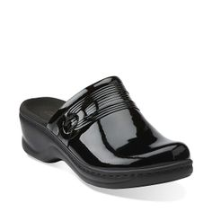 Lexi Redwood in Black Patent Leather - Womens Clogs from Clarks