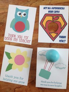 Teacher appreciation thank you cards/gift tags for EOS lip