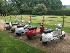 Two standard GS 160s,a standard SS 180, a 'Modded' SS 180 and a slightly 'Modded' Moto-Vespa GT with a PX 200 engine.
