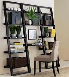 Com pouco espaço para seu Home Office? Que tal encaixá-lo em uma pequena estante? Pode ficar uma graça !