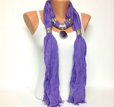 purple jewelry scarf cotton long with natural gemstone pendant Christmas gift or for you      I made this beatiful and unique jewelry scarf with purple color 100% cotton long scarf, adjustable scarf accessories and very pretty big natural real gemstone pendant.    I love scarfs because it helps to complete an outfit, they are unique, classic, elegant and match everything, also makes an perfect gift.    +++++SHIPPING+++++    United States : usps first class or priority mail 2 to 4 business…