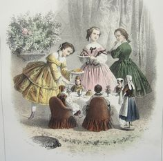 Antique French Print - 'Little Girls Serving Tea to Their Dolls'