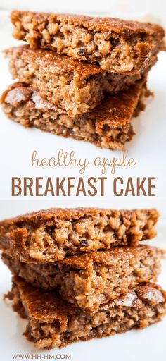 This healthy apple cake is delicious and super easy to make - it's kinda like a baked oatmeal recipe, but better. This healthy easy breakfast recipe is delicious and you don't need a ton of ingredients. Healthy Apple Cake, Apple Cake Recipes, Healthy Sweets, Healthy Baking, Baking Recipes, Dessert Recipes, Healthy Cake Recipes, No Bake Desserts, Healthy Snacks