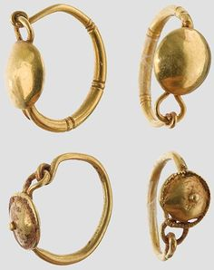 Two pair of golden earrings shields,    Roman, 3rd century. AD