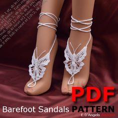 Barefoot sandals   crochet   pattern    foot jewelry   BUTTERFLY