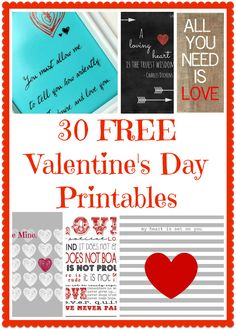 30+ FREE Valentine's Day Printables and Subway Art  #valentine