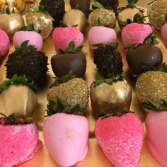 Pink and gold royal baby shower chocolate covered strawberries