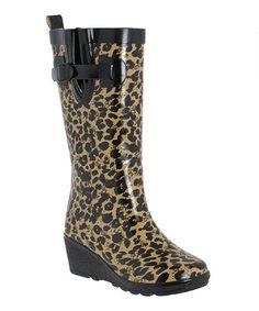 This Black Wild Leopard Wedge Rain Boot is perfect! #zulilyfinds