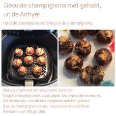 Gevulde champignons met gehakt uit de Aifryer. 8 minuten, 180 graden. AK