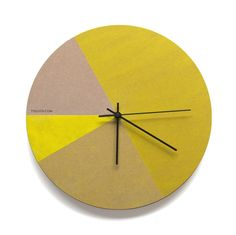 Yellow Tones Wall Clock MDF Board painted in tones of yellow by diameterSilent sweep clock mechanismBlack hour, minute and second handAA Battery not i
