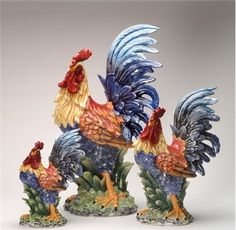Blue Feathers Ceramic Rooster Figurine