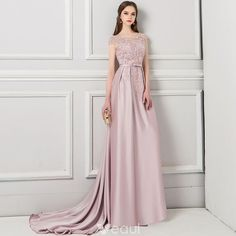 Charming Pearl Pink Pierced Evening Dresses 2018 Trumpet / Mermaid Scoop Neck Cap Sleeves Appliques Lace Beading Bow Sash Court Train Ruffle Backless Formal Dresses