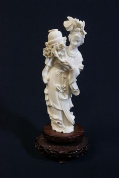 """Chinese ivory carved flower lady (5.9""""H), NO INTERNATIONAL SHIPPING OF IVORY"""