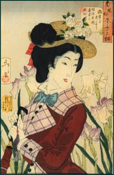 1888 woodblock print from Musee Virtual.  Very fun hat and fabrics!  http://www.museevirtuel-virtualmuseum.ca/edu/ViewLoitDa.do;jsessionid=CB07CF314678EA5EC7B1674276054A3C?method=preview=EN=12949