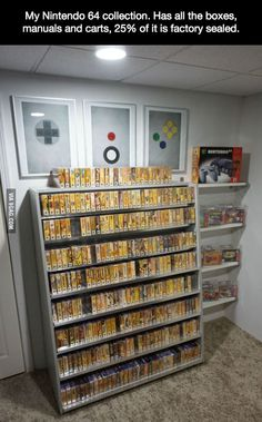 Nice N64 collection, I like the shelf and the art of the controller.