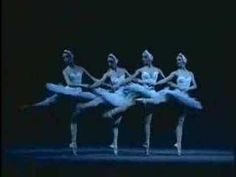 The Cygnets (small swans) in the Bolshoi's production of Swan Lake doing a series of pas de chats in a diagonal around the 1.08 mark. There's also a series of entrechats-quatre before.