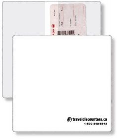 """Promotional Products Ideas That Work: Econo White Portfolio Travel & Passport holder, open size (9.25"""" x 9.5"""") closed size (9.25"""" x 4.75"""") screen-printed. Made in Canada. Get yours at www.luscangroup.com Document Holder, Passport, Screen Printing, Promotion, Canada, Printed, How To Make, Travel, Ideas"""
