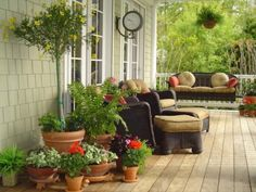 I love the potted garden around the chairs! Awesome clock. Awesome everything.