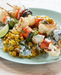Roasted Vegetable Kebabs with Curried Chickpeas & Yogurt